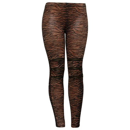 Brown Zebra Zippered Knees Ladies Leggings Shear Tights ()