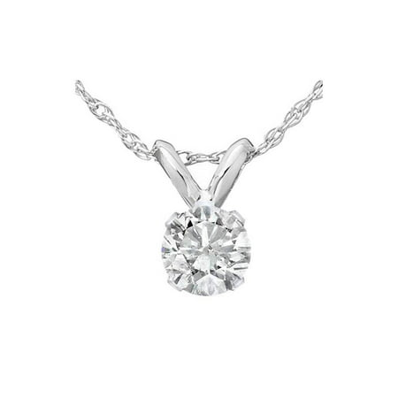 1/3ct Round Solitaire White Gold Diamond Pendant