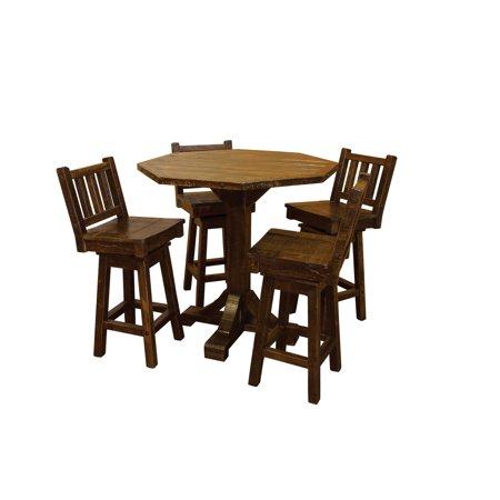 Furniture Barn USA™ Barn Wood Style Timber Peg Bistro Table with 4 Swivel Stools - Bar Height ()