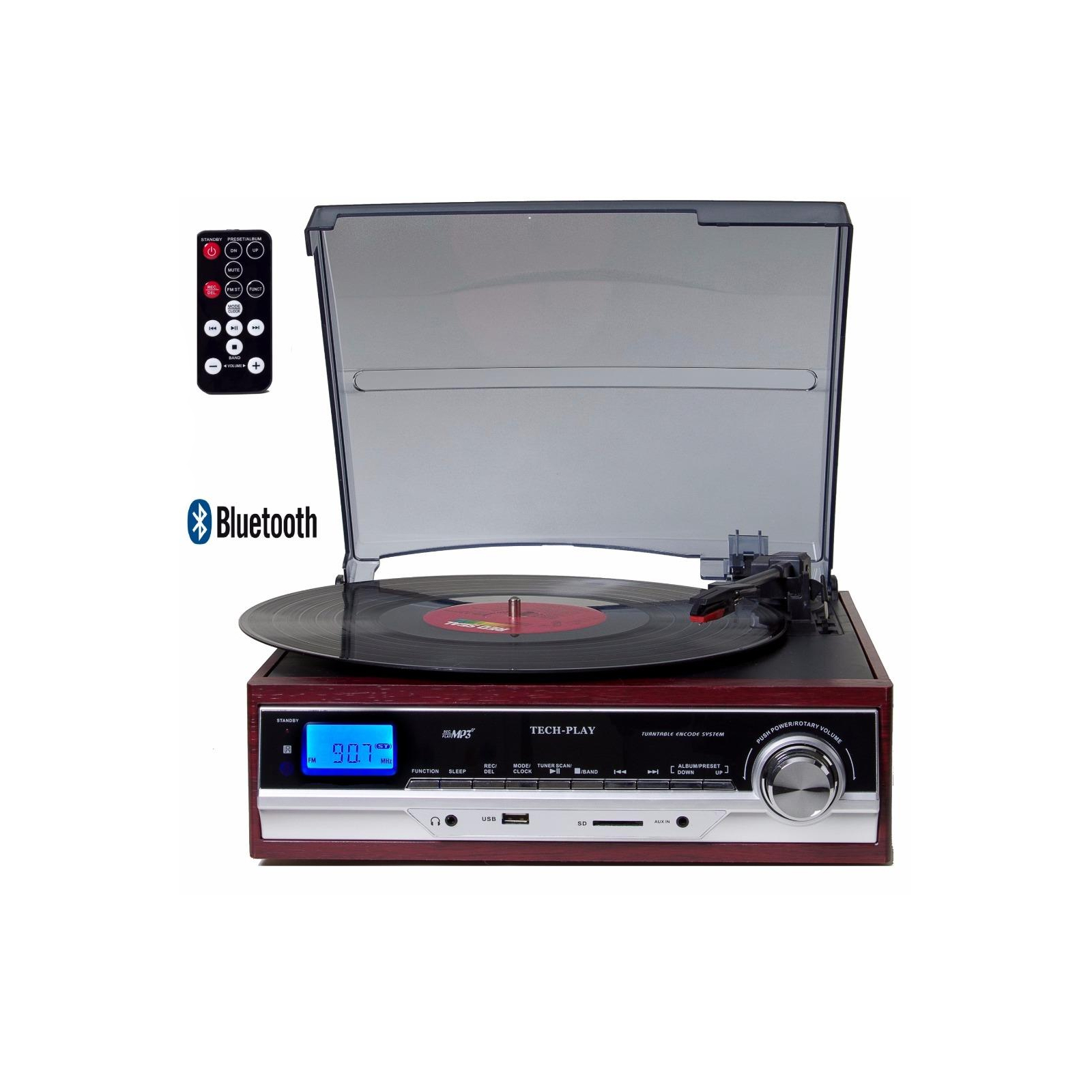 TechPlay 3-Speed Turntable with BT, SD USB, MP3 Encoding System and AM/FM Stereo Radio