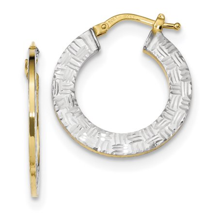 14K Rhodium Plated Yellow Gold Gold & White Rhodium Diamond Cut and Polished Hoop Earrings - image 2 of 2