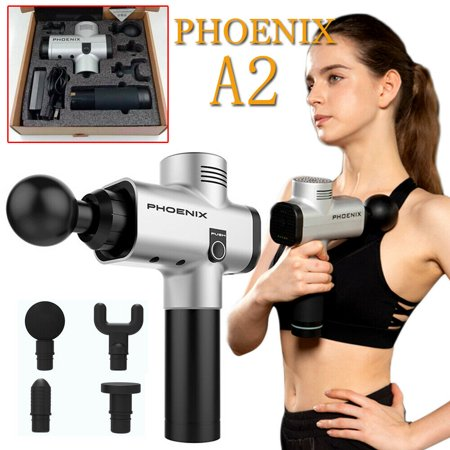 Cordless Massage Gun Handheld Muscle Massager Percussive Therapy Device 3 Speed Recovery Grade Massager With 4 Interchangeable Heads for Muscle...