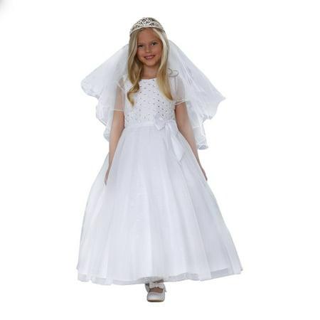 Angels Garment Big Girls White Satin Lace Sparkle Tulle Communion Dress