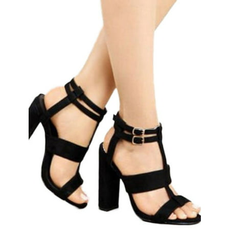 Blue Rhinestone Heels (Women High Chunky Block Heels Sandals Buckle Ankle Strappy Slingback Party)