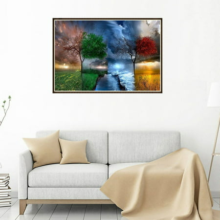 Four Seasons Scenery Tree River Patterns Printed 5D Full Rhinestone Painting DIY Diamond Painting Cross Stitch for Office (Bead Stitch Patterns)