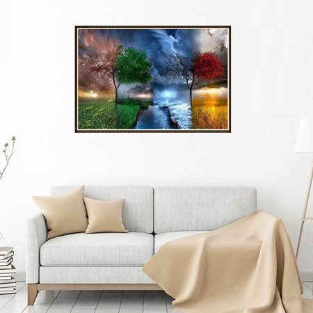 Four Seasons Scenery Tree River Patterns Printed 5D Full Rhinestone Painting for Office DIY Cross-stitch of Diamond