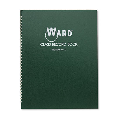 Class Record Book, 38 Students, 6-7 Week Grading, 11 x 8-1 2, Green, Sold as 1 Each by