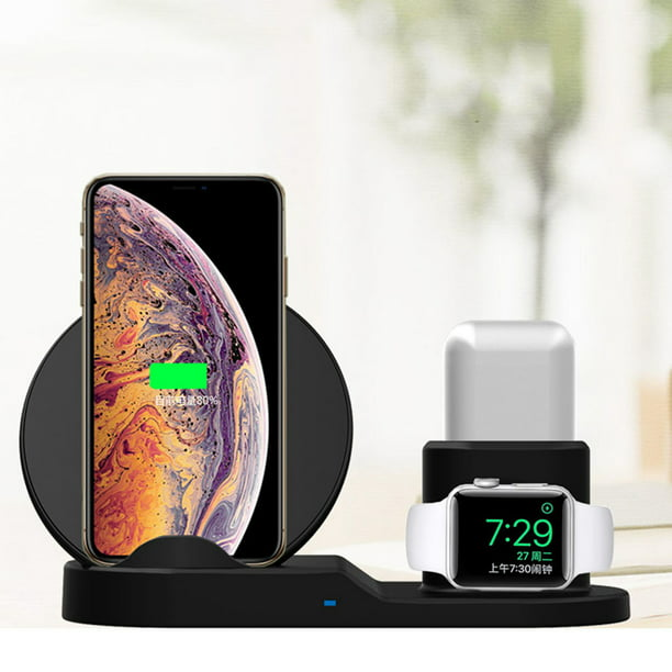 3 IN 1 Qi Fast Charger Pad Stand Wireless Charging Station Dock for Apple Watch Series 4321 &ForAirpods Headphone, for iPhone 11 Pro X XS Max XR 8