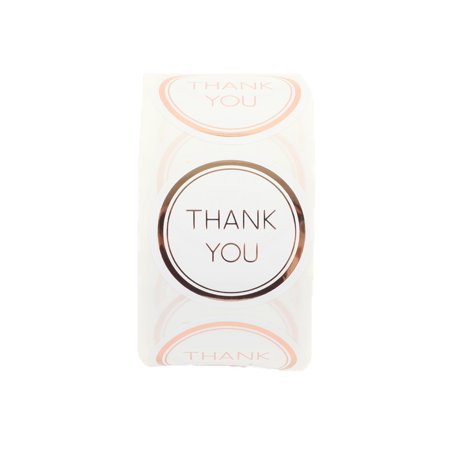 Koyal Wholesale Label Stickers Rose Gold Foil Edge Thank You Favor Labels, 1.5-inch Round Circle, 500-Pack Favor Labels
