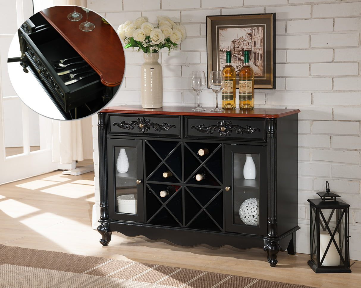Paul Black & Walnut Wood Contemporary Wine Rack Sideboard Buffet Display Console Table With Storage Drawers & Glass... by Pilaster Designs