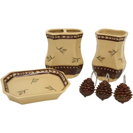 Bacova guild pine ridge 4 piece bath accessory set cream for Cream bathroom accessories set
