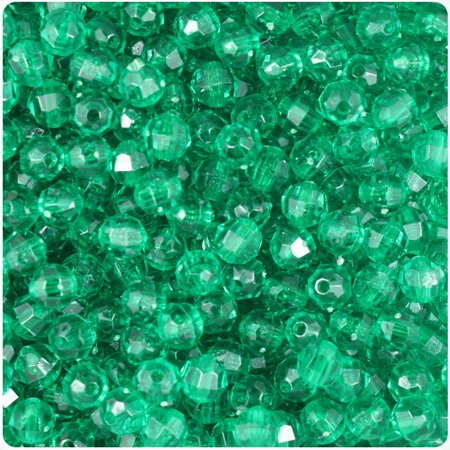 BeadTin Emerald Transparent 6mm Faceted Round Craft Beads (750pcs) (Round Faceted Birthstone Charm)