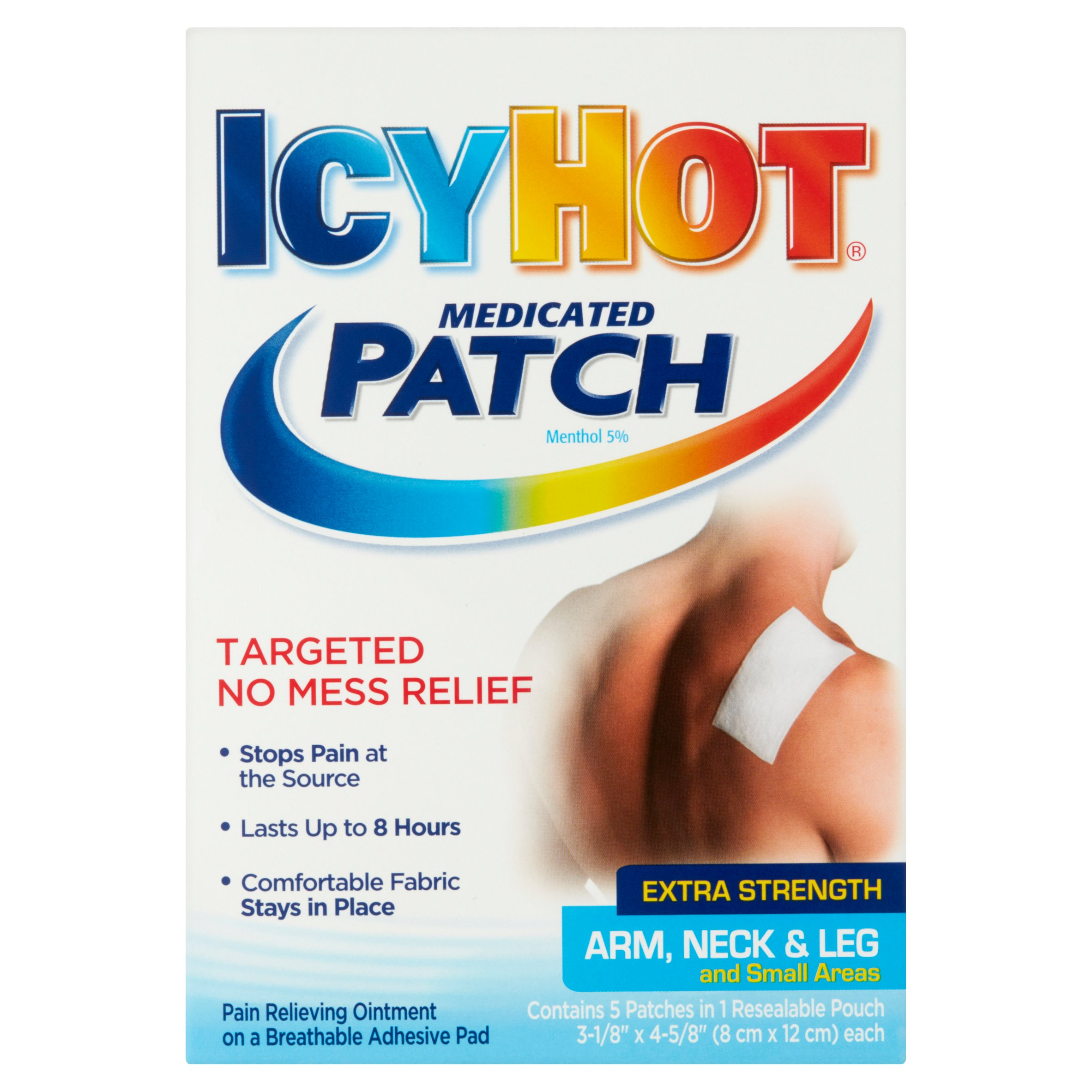 Icy Hot Extra Strength Arm, Neck & Leg and Small Areas Medicated Patch, 5 count