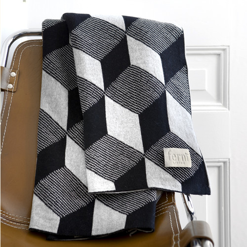Scantrends Jacquard Knitted Squares Cotton Blanket