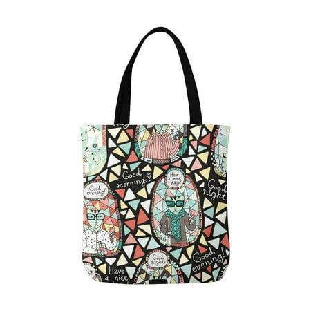 HATIART Cat Hipster Reusable Grocery Bags Shopping Bag Canvas Tote Bag Shoulder Bag - image 3 of 3