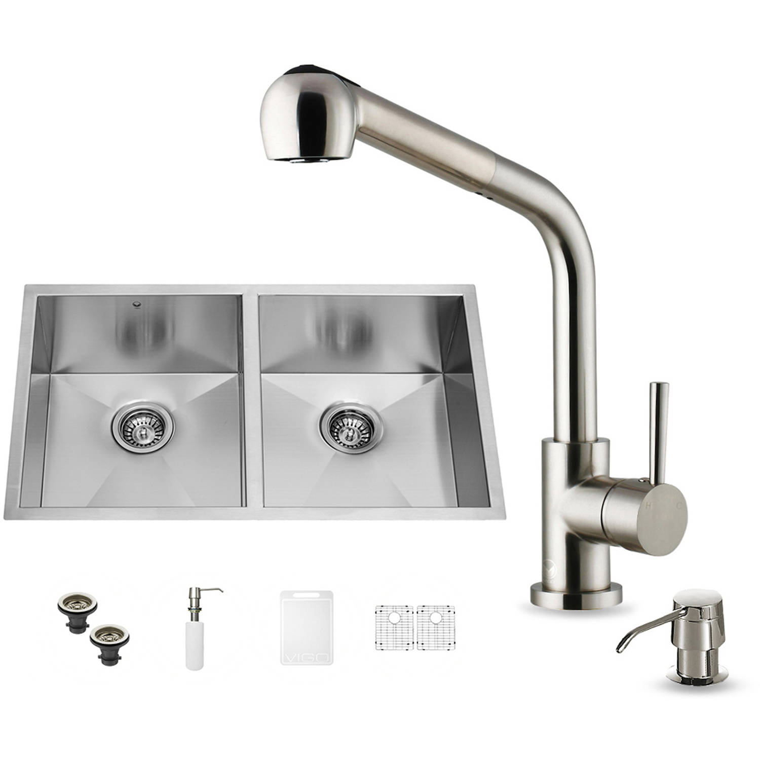 """Vigo All-in-One 32"""" Undermount Stainless Steel Double Bowl Kitchen Sink and Faucet Set"""
