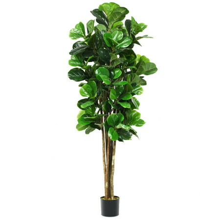 Gymax 6-Feet Artificial Fiddle Leaf Fig Tree Indoor-Outdoor Home Decorative