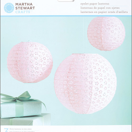Martha Stewart Crafts Vintage Girl Paper Lanterns Kit, Pink Eyelet