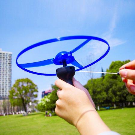 Funny Colorful Pull String UFO LED Light Up Flying Saucer Disc Kids Toy (Mars Flying Saucer Disc)