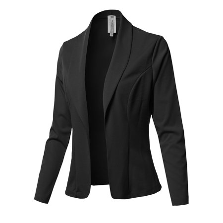 Fashion Outfit - Women's Solid Long sleeve Open Front Office Blazer Jacket