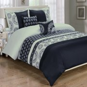 Luxury Soft 100% Cotton 5-Piece Duvet Cover Set Embroidered - Full/Queen - Chelsea Black