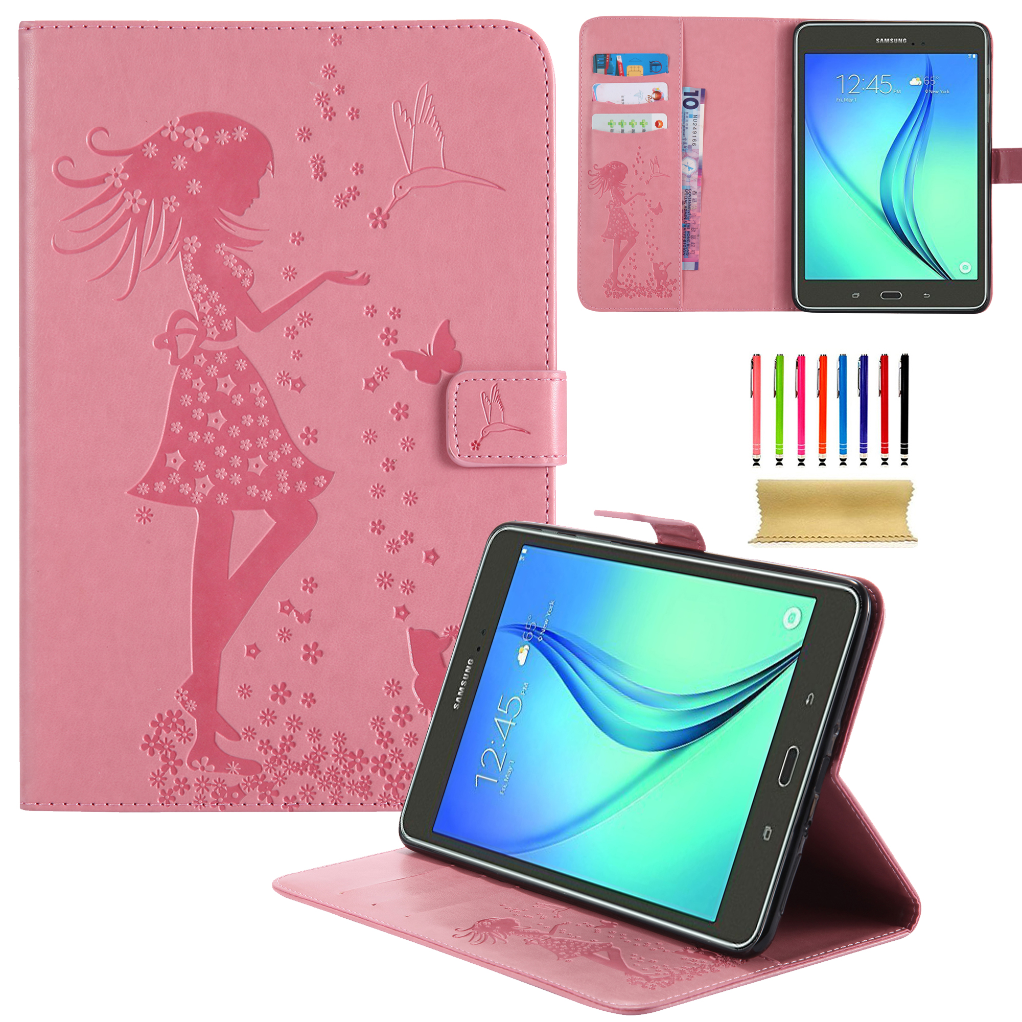 For Samsung Galaxy Tab A 8.0 Case, SM-T350 Tablet Case - UUcovers Ultra Slim Butterfly & Girl Embossing Folio Stand Cover with Auto Wake/ Sleep Feature Smart Wallet Protective Case, Pink