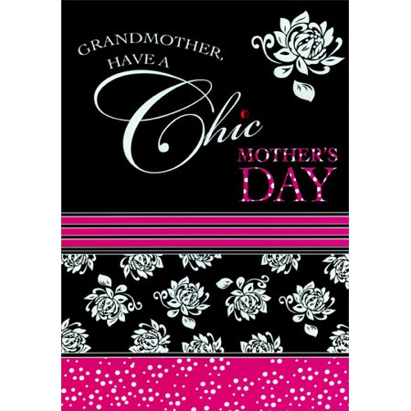 Designer Greetings Chic Pink White and Black: Grandmother Mother's Day Card Black And White Cards