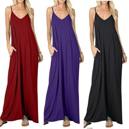 Women's Summer Casual Slip Dress Flowy Pockets Loose Beach Cami Drape Cotton Dress