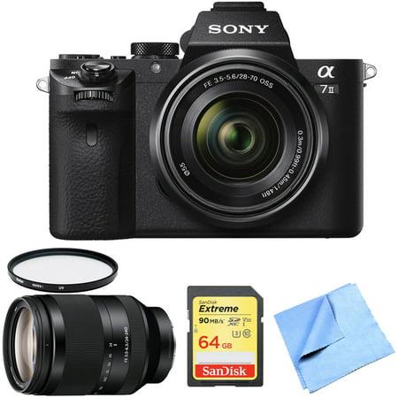 Sony Alpha 7II Mirrorless Interchangeable Lens Digital Camera with Sony FE 28-70mm F3.5-5.6 OSS Lens, Sony FE 24-240mm F3.5-6.3 OSS Full-frame E-mount Telephoto Zoom Lens, 64GB Card, UV Filter &