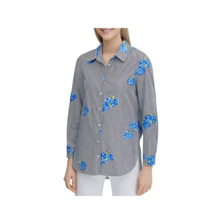Calvin Klein Womens Cotton Striped Button-Down Top