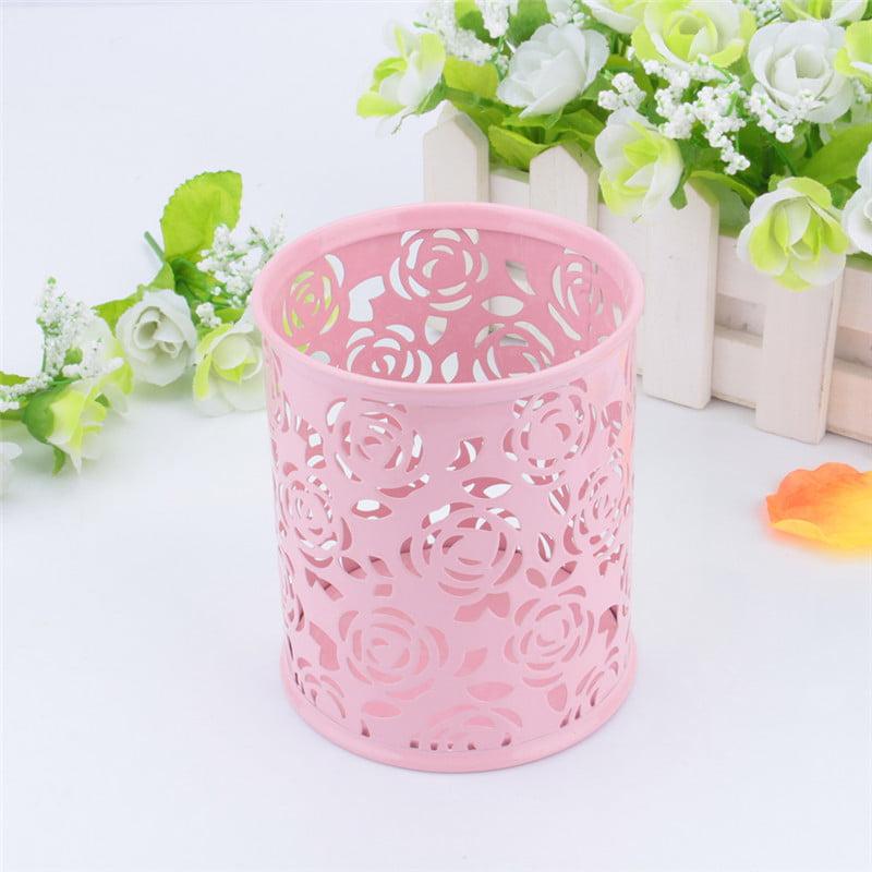 Fashionable Carved Hollow Rose Flower Pattern Cylinder Metal Pencil Pot Pen Cases Holder Box Cup for Desktop Office Red