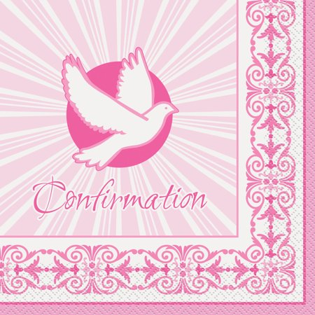 Radiant Cross Confirmation Party Napkins, 6.5 in, Pink, 16ct for $<!---->
