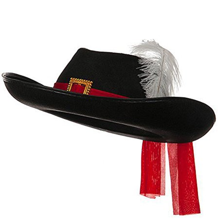 Black Three 3 Musketeers Hat with Red Sash and White Feather