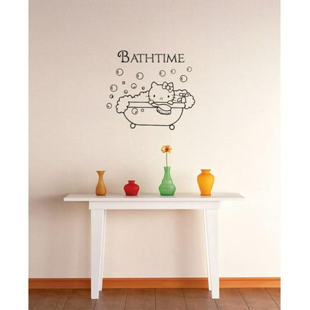 Vinyl Wall Decal Sticker : Hello Kitty BathTime Bathroom Image Quote Picture Art Peel & Stick Mural 16x16 (Hello Kitty Peel)