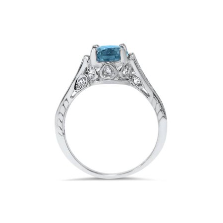 2 1/4ct Treated Blue & White Diamond Vintage Engagement Ring 14K White Gold - image 1 de 4