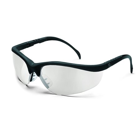 8926e7aeeeb0 Crews KD119 Klondike Safety Glasses, Black Matte Frame and Indoor/Outdoor Clear  Mirror Lens