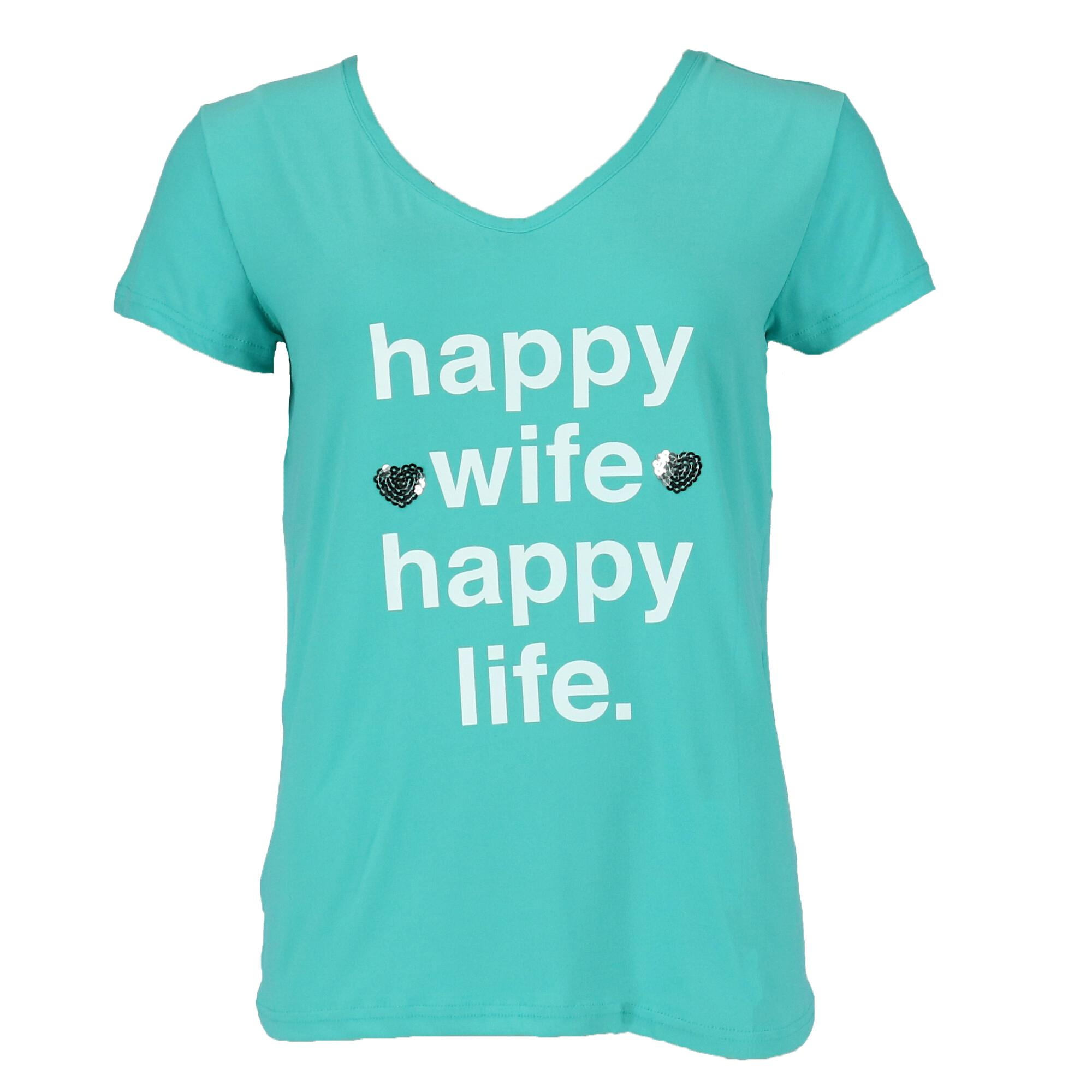 Not a Morning Person Women's Plus Size Happy Wife Tee and Joggers Pajama Set - image 3 of 4