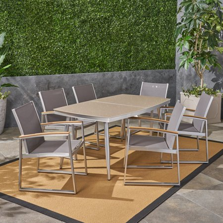 Tracey Outdoor Aluminum and Mesh 7 Piece Dining Set with Glass Table Top, Silver and Gray
