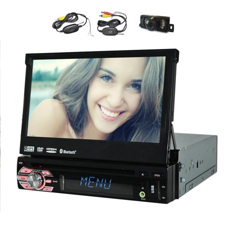 """GPS SAT PC Auto DVD CD VCD Radio Receiver Electronics Audio Car Stereo RDS single din Car Video Player BT Audio In Dash Autoradio Detachable Touch Screen 7"""" EQ Subwoofer BT Wireless Back Camera"""