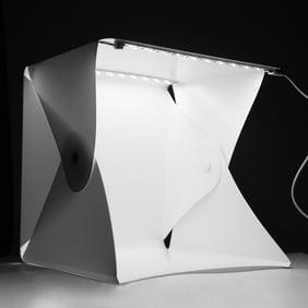 Acouto New Mini Photo Studio Lighting Box Tent Kit with LED Strips 4 Colors Backgrounds Portable Foldable Photo Light Box Photography