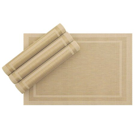 4 Pack PVC Dining Room Table Mats Woven Placemats Heat Insulation 12