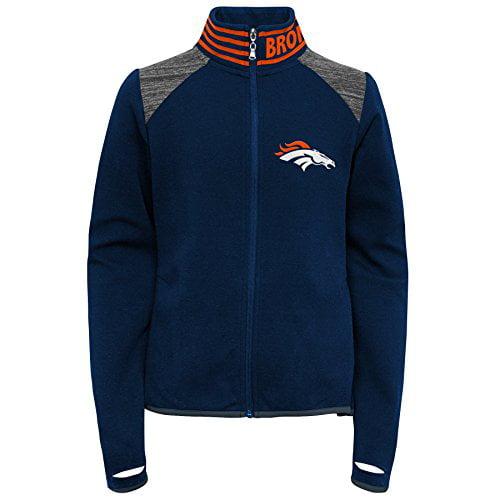 NFL Denver Broncos   Kids Linebacker Raglan Hooded Pullover Dark Navy 5-6 Kids Medium