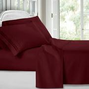 Clara Clark 1800 Series Deep Pocket 4pc Bed Sheet Set Queen Size, Burgundy Red
