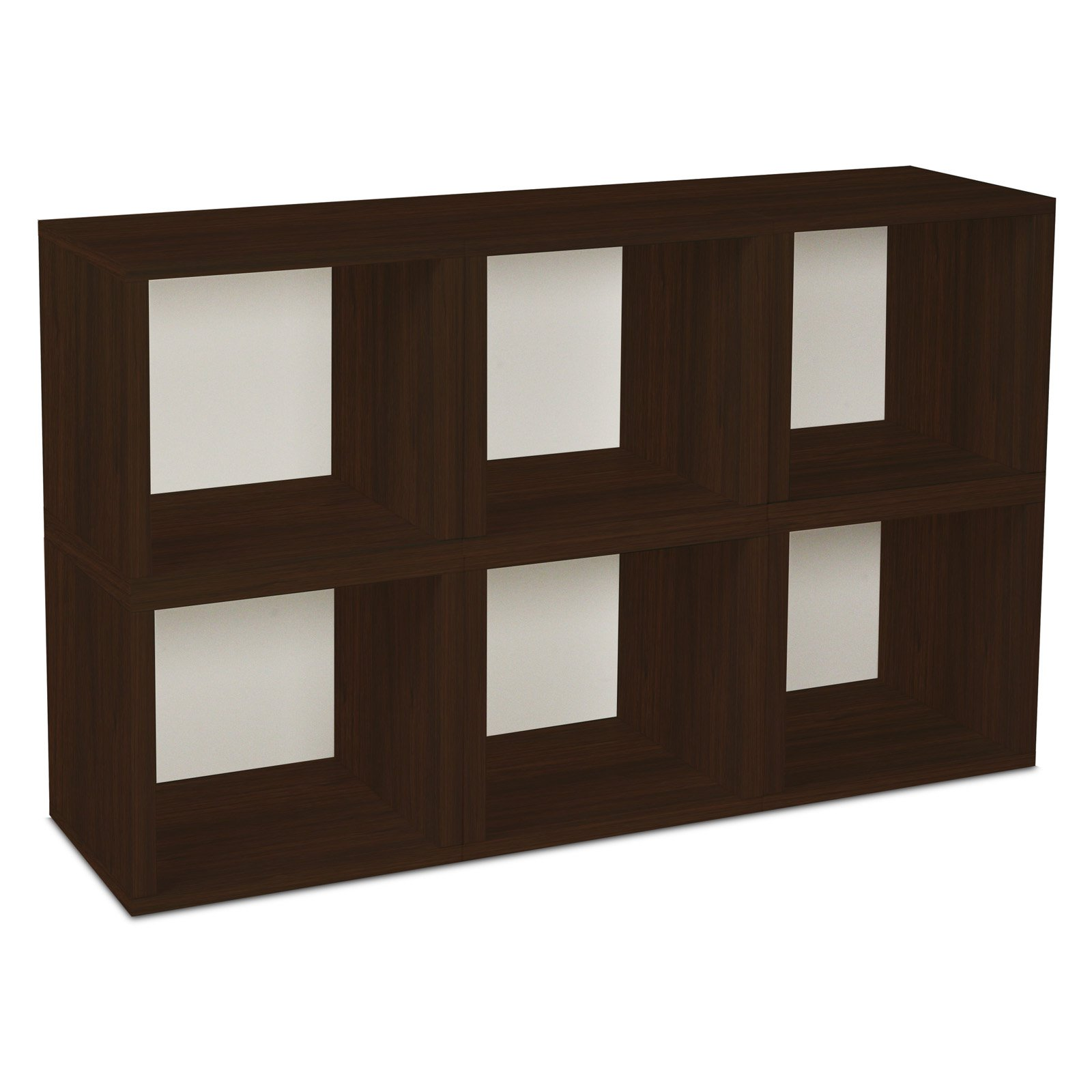 Way Basics Eco Stackable Modular Storage Cubes (6 Pack), Espresso