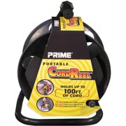 Prime Portable Cord Reel With Metal Stand, Black, Holds 100-Ft of Cord