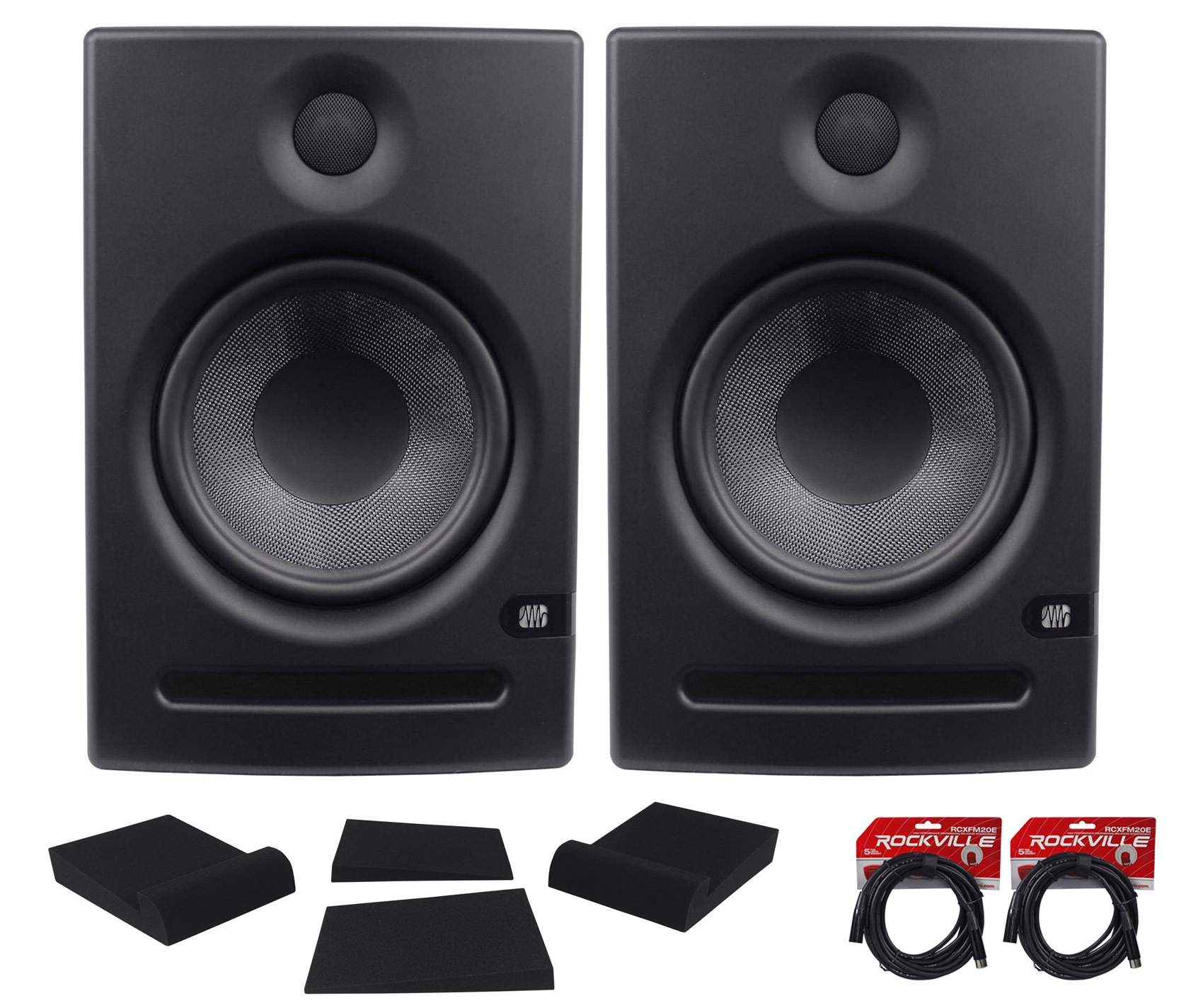 2x Presonus Eris E8 Active Powered Studio Monitors +FREE XLR Cables by PreSonus
