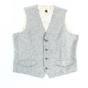 Tasso Elba Island Gray Mens Size XL Four-Button Linen Waistcoar Vest