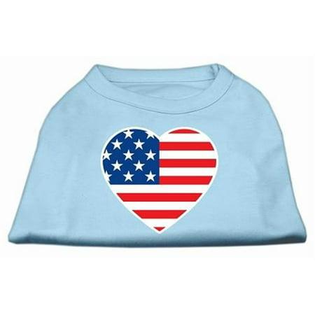 Mirage Pet Products 51-133 XSBBL American Flag Heart Screen Print Shirt Baby Blue XS - (American Flag Attire)