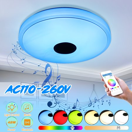 Aryclic Modern APP Remote Control bluetooth Music Ceiling Light, 48W 36LED Flush Mount Ceiling Light Lamp Fixture with Music bluetooth Speaker Home Decor Bedroom Light Lighting (Ceiling Decor)