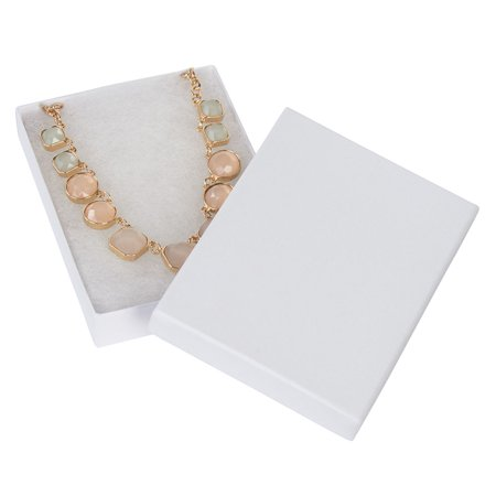 5 ¼ x 3 ¾ x ⅞ inch White Embossed Cotton Filled Jewelry Boxes - 100